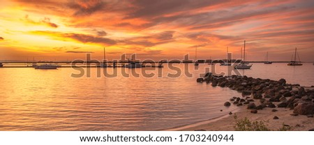 Sunset in La Paz bay by the sea of Cortes in the Baja California Sur State. MEXICO Photo stock ©
