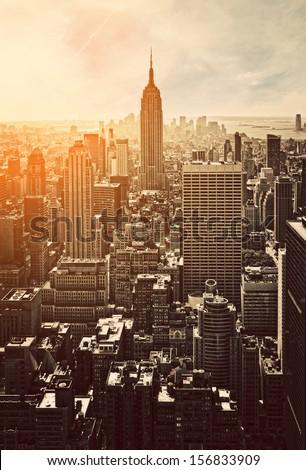 Sunset in Manhattan, New York, USA stock photo