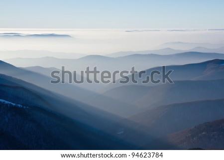 Sunset in mountains, winter, Carpathians