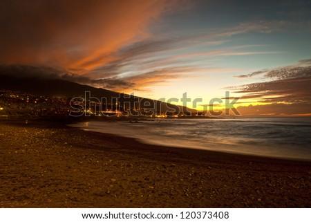 Sunset in Playa Jardin, Puerto de la Cruz, Tenerife, Spain