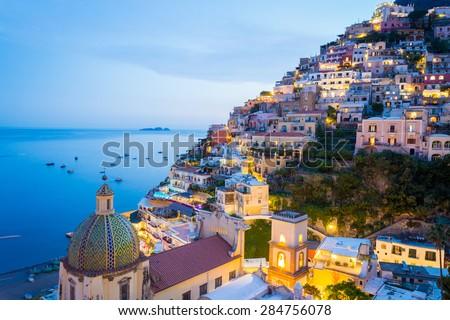 Sunset in Positano, Amalfi Coast, Salerno - Naples, Italy