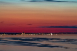 sunset in Rimini, view of the see and the cost of Italy