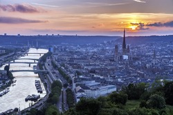 Sunset in Rouen - aerial view. Rouen, Normandy, France