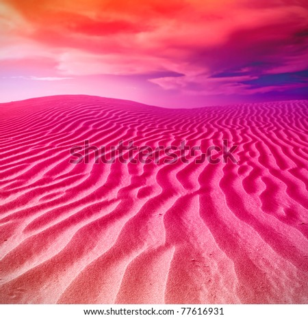 sunset in sand desert