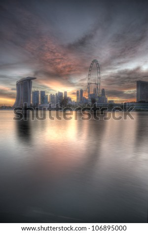 sunset in singapore - stock photo