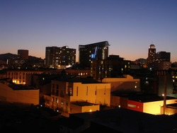 Sunset in SOMA, with a deep color view of the industrial motif of the residences.