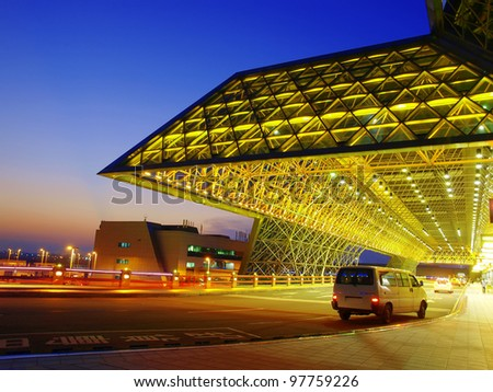 Sunset in the airport - stock photo