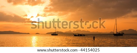 Sunset in the Andaman Sea in Thailand.