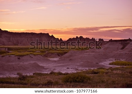 Sunset in the Badlands NP. Badlands Scenery. South Dakota, USA. South Dakota Photo Collection.