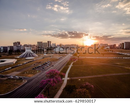 Shutterstock Sunset in the center of Brasilia showing Catedral building