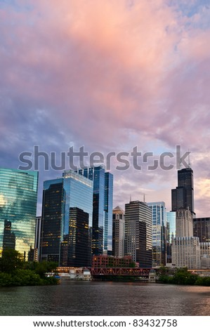 Sunset in the city of Chicago.