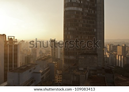 "Sunset in the city of S�£o Paulo, with building ""italia"" highlighted"