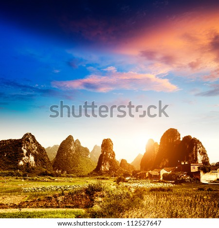 Sunset in the countryside landscape in guilin,china