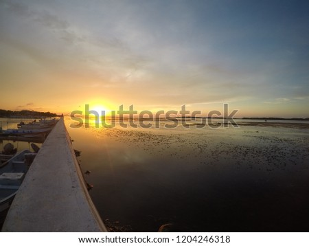 Sunset in the fishing port of San Felipe, Mexico #1204246318