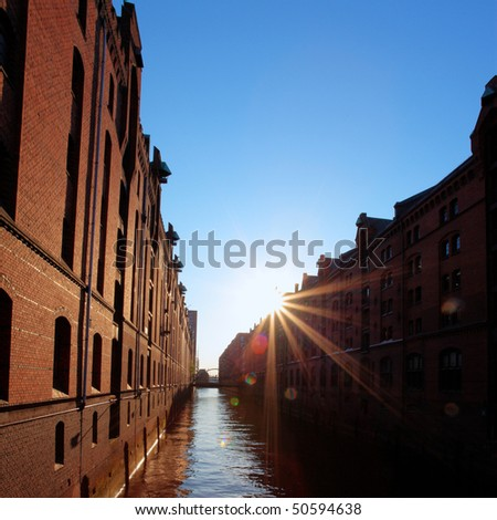 Sunset in the Harbor city of Hamburg