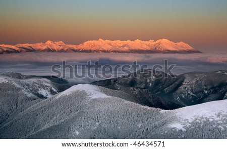 Sunset in the High Tatras from Chopok (Low Tatras) Slovakia