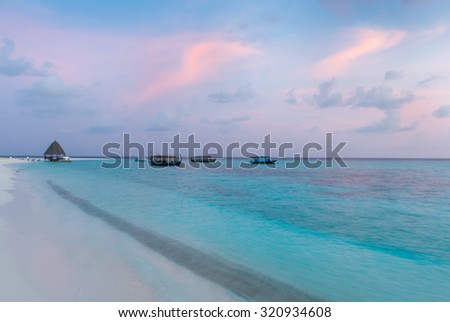 Sunset in the Maldives, blurred picture. Background