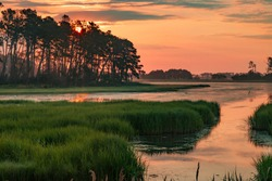 Sunset in the marshes of Chincoteague National Wildlife Refuge in Virginia