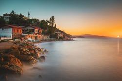 sunset in the mediterranean. Alanya, Side, Kas, Belek, Kemer, Bodrum, Marmaris, Izmir, Antalya, Turkey.