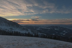 Sunset in the mountains. Silesian Beskid Poland.