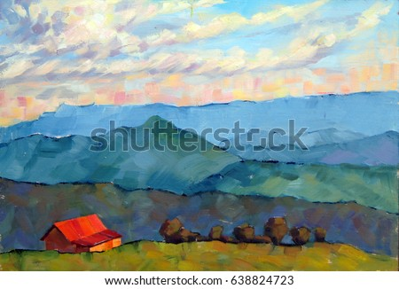 Sunset in the mountains. The bright red-roofed cottage an mountains on the horizon. Beautiful oil painted landscape in natural colors. Expressive etude manner. Impressionism. Paint strokes.