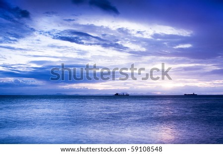 Sunset in the sea with blue color