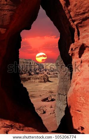 Sunset in the stone desert