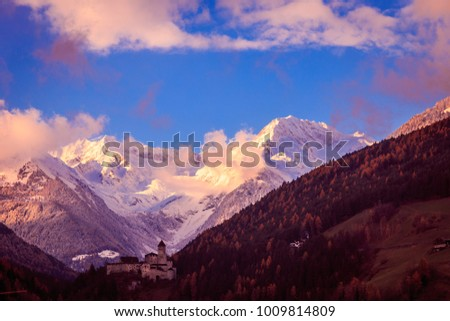 sunset in the valley of Campo Tures, Italy #1009814809