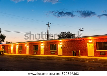 sunset in touristic motel. usa...