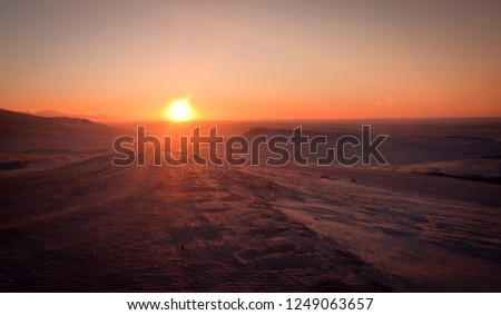sunset in tundra
