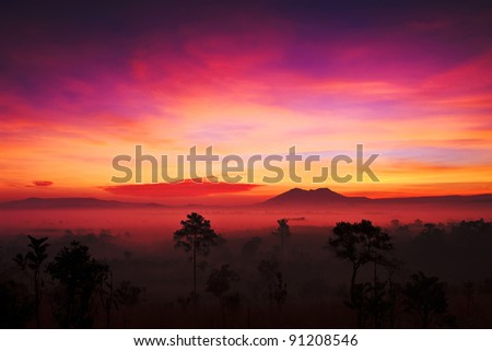sunset in Tung Salang Luan of Thailand as wallpaper