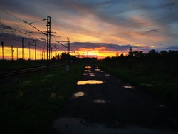 Sunset in Upper Silesia. Silesian landscape. Silesian landscapes. Railway line and the industrial landscape of Silesia.