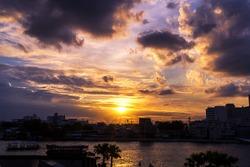 Sunset in urban area of Bangkok, Thailand.