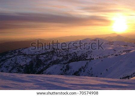 Sunset in Western Sayan mountains. Siberia. Russia