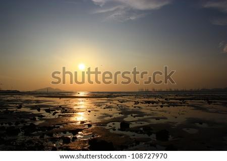 Sunset in wetland