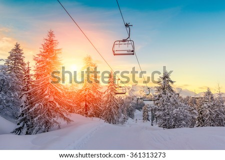 Sunset in winter landscape  in mountains Julian Alps-Europe #361313273