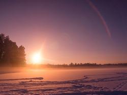 Sunset in Winter Setting Sun