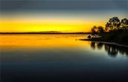 Sunset lake evening sun scene