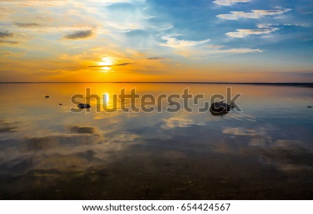 Sunset lake landscape