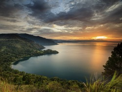 Sunset Lake Toba locations North Sumatra Indonesia