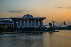 Sunset lake view of Sultan Mizan Zainal Abidin Mosque,Putrajaya