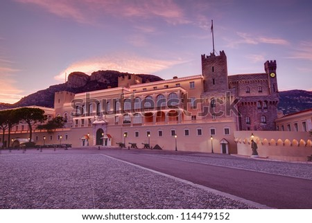 sunset landscape at Prince's Palace in Monaco