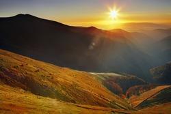 Sunset landscape in Carpathian mountains