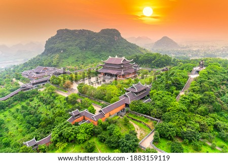 Sunset landscape of temple complex from above is one of the biggiest and largest temple Southeast Asia in Ninh Binh, Vietnam.
