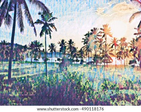 sunset landscape with coco palm ...