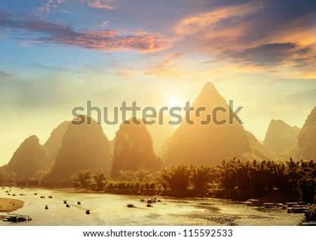 Sunset landscpae of yangshuo in guilin,china
