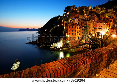 Sunset light in Riomaggiore, Cinque Terre, Italy