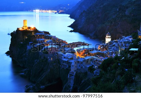 Sunset light in Vernazza, Cinque Terre, Italy