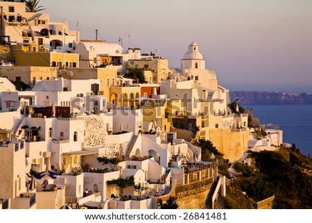 Sunset Light on Fira, The Main Town of Santorini, Greece - stock photo