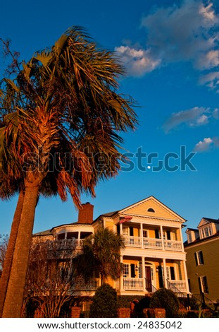 Sunset light on the Battery Charleston South Carolina